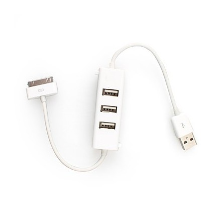 CABLE 30 BROCHES BLANC AVEC HUB USB IPHONE
