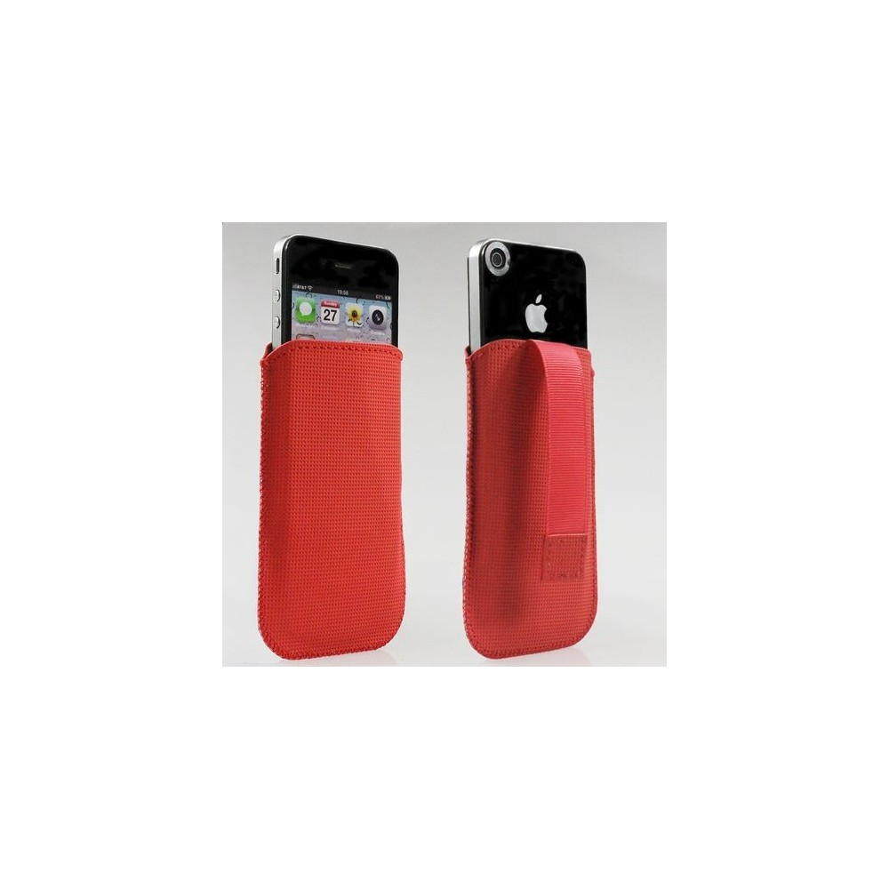 Housse chaussette iphone 3 et 4 en cuir lisse rouge gourmand for Housse iphone 4 cuir