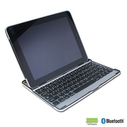 COQUE IPAD 2/3/4 CLAVIER QWERTY BLUETOOTH ASPECT ALUMINIUM