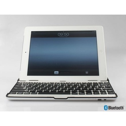 COQUE IPAD 2/3/4 CLAVIER AZERTY BLUETOOTH ASPECT ALUMINIUM