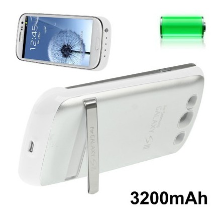 COQUE SAMSUNG S3 S4 BATTERIE BLANCHE