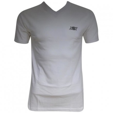 T-shirt col V New Man blanc